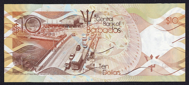 Barbados money currency 10 Dollars banknote 2013 Charles Duncan O'Neal Bridge