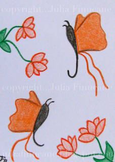 orange butterflies aceo