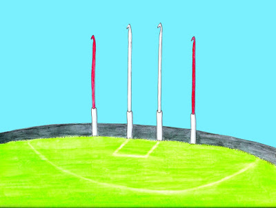 A drawing of an Australian Rules footy field with crochet hooks as goal posts.