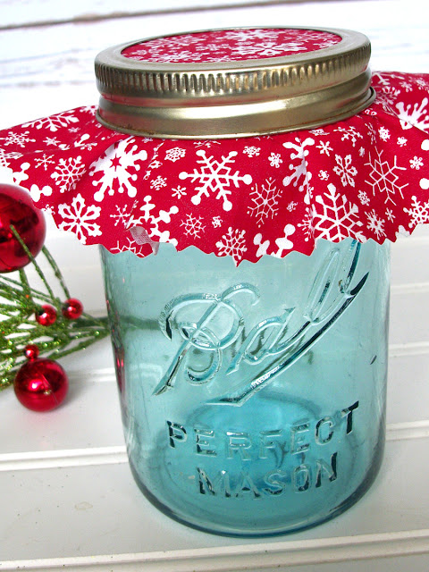 red snowflake christmas jam jar covers