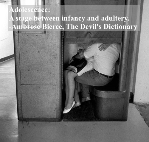Vintage photo. Couple kissing in a photo booth c. 1950s Adolescence - A stage between infancy and adultery. The Devil's Dictionary. Chaperones marchmatron.com
