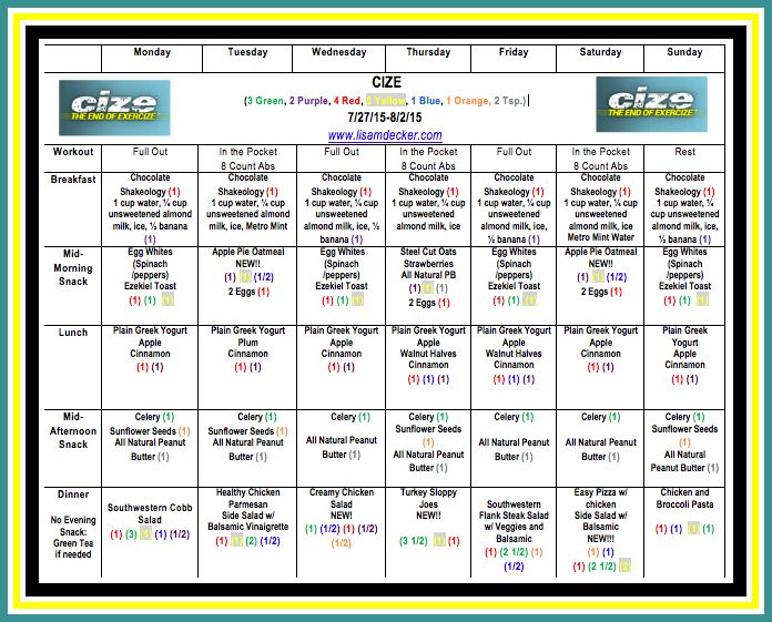 Cize  Week  Workouts And Meal Plan