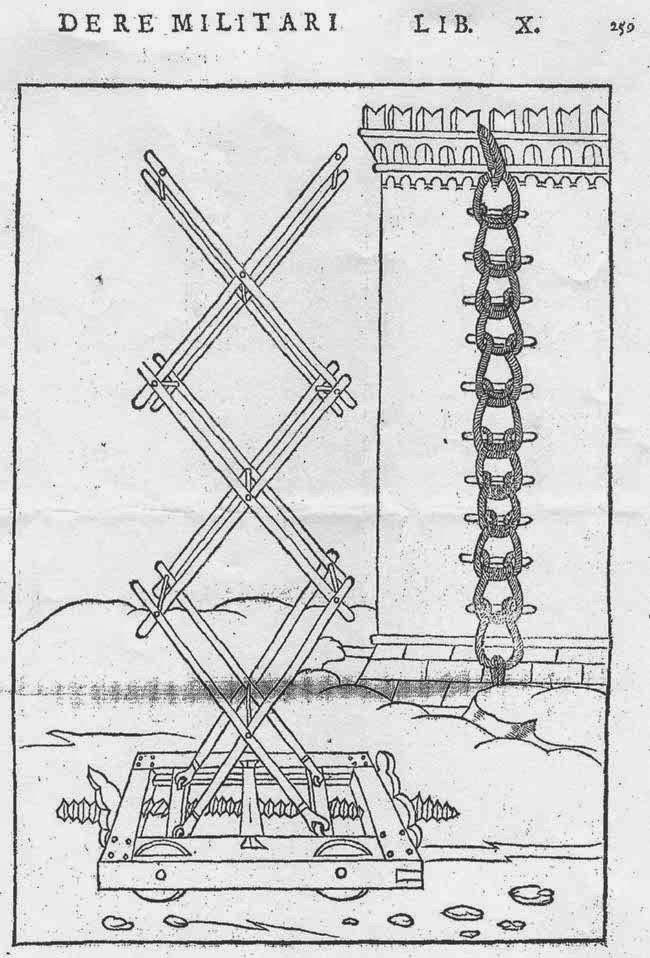 La escala de Valturio: propuesto en De re militari,  en 1472. Girando el eje roscado de la parte inferior se consigue que el  plano superior suba o baje al mismo tiempo que se manteniéndose horizontal