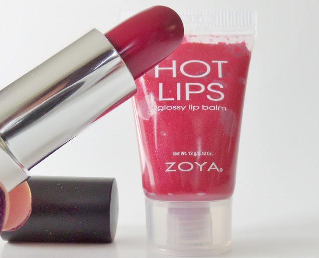 Zoya holly days lip duo matte velvet red Lipstick with Encorage Hot Lips Gloss
