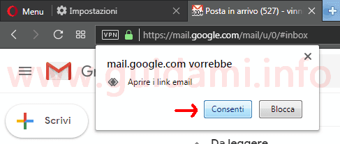 Opera popup aprire i link email