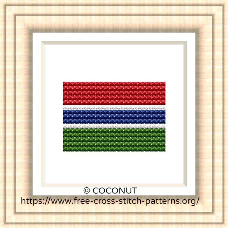 NATIONAL FLAG OF GAMBIA CROSS STITCH CHART