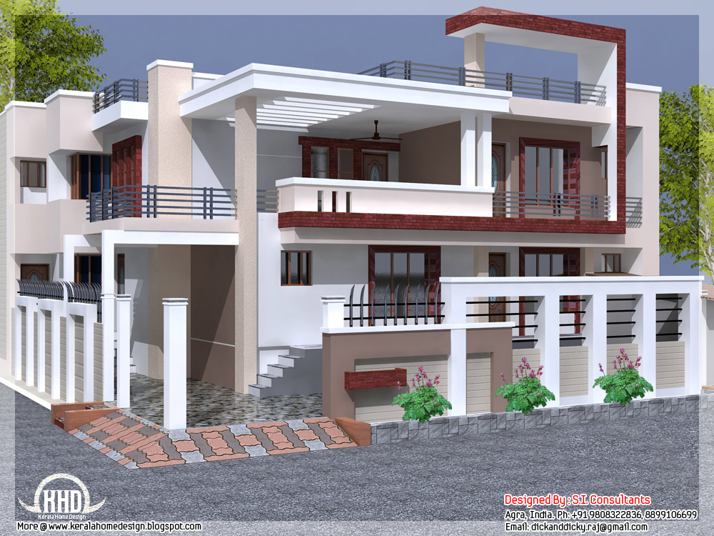 India house design with free floor plan kerala home for Home outer colour design