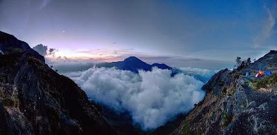 Campsite at Plawangan Sembalun altitude 2639 m of Mount Rinjani