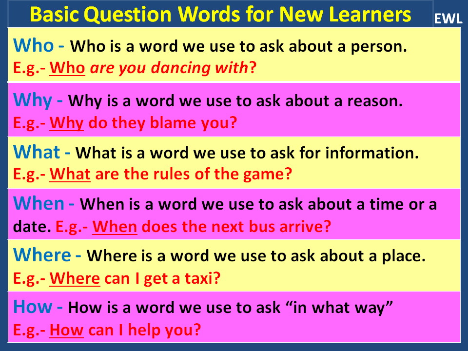 English With Life: Interrogative Words / Question Words
