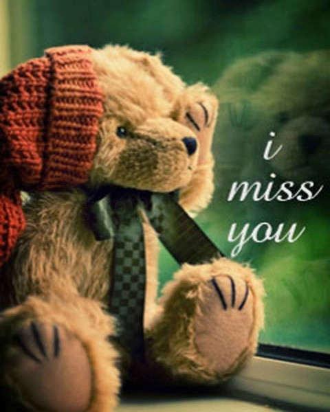 Cute I miss you teddy bear image
