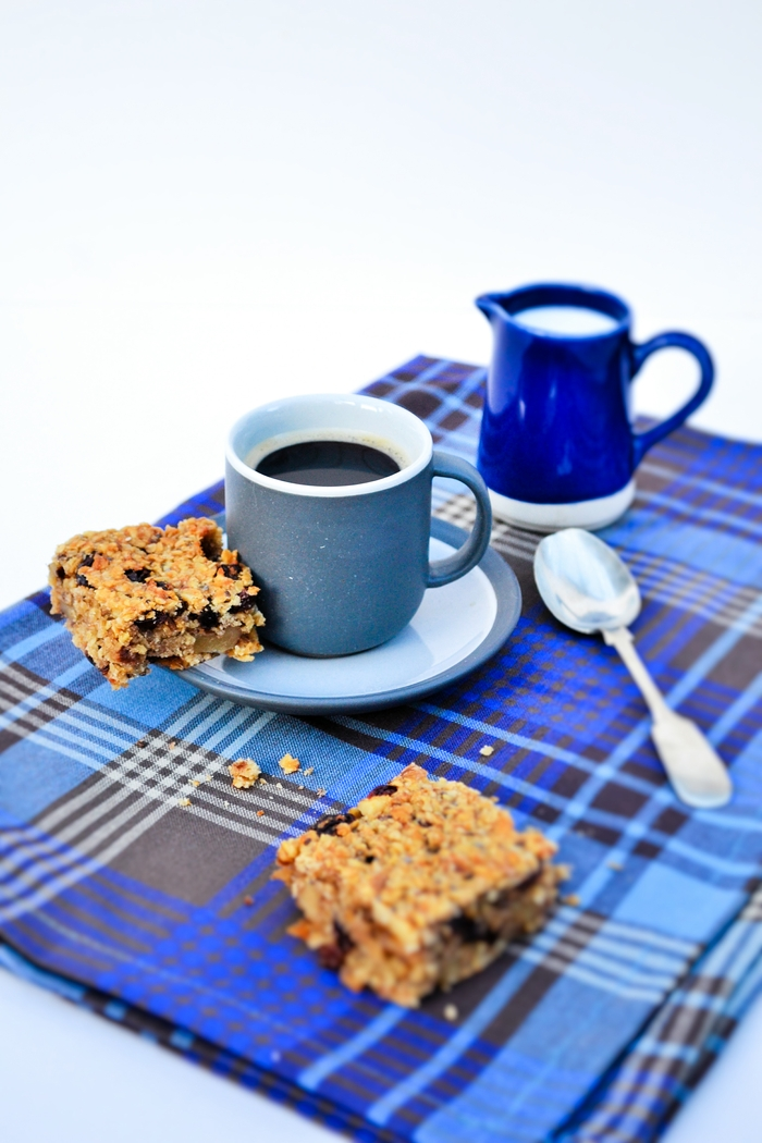 Scottish Oaty Walnut and Raisin Flapjacks with a cup of coffee