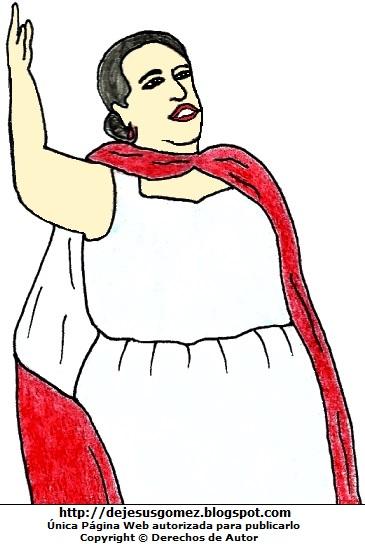 Imagen de Rosa Merino cantando. Dibujo de Rosa Merino hecho por Jesus Gómez