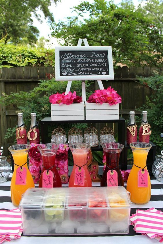 Kate Spade Theme Mimosa Wedding Drink Bar