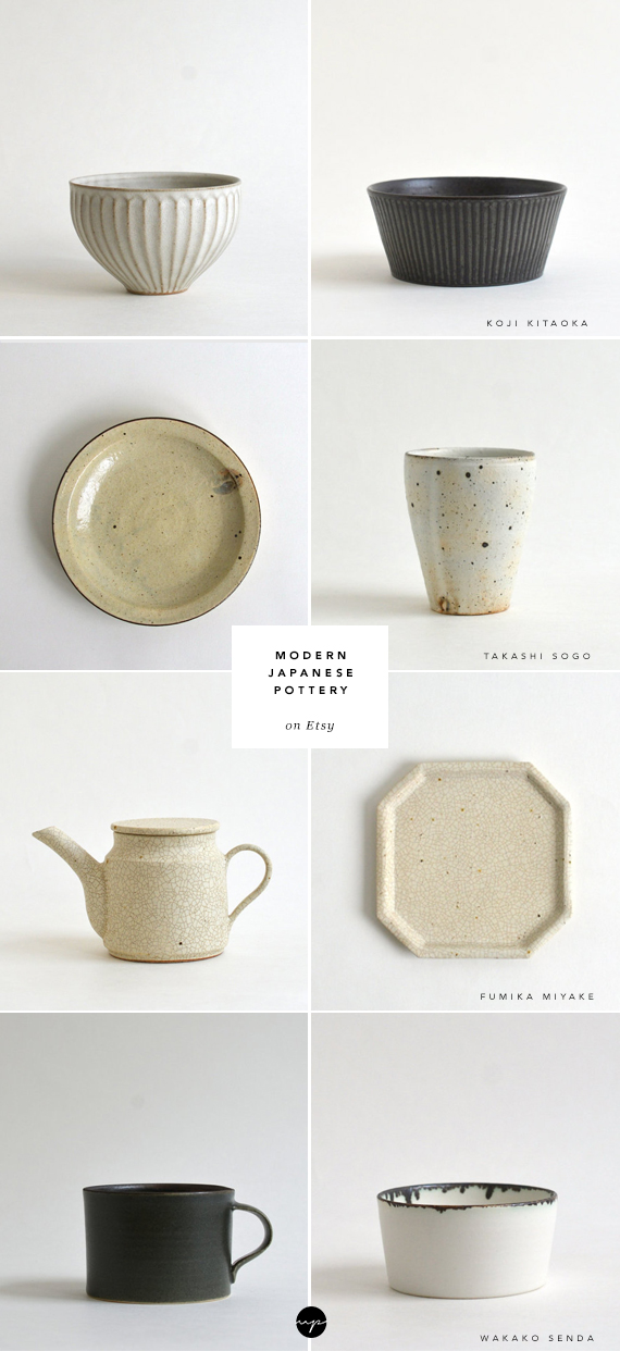 Modern Japanese pottery on Etsy