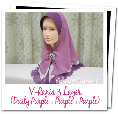 Tudung Fareeda At Styloscarfs V Rania 3 Layer Dusty Purple Light Purple Purple