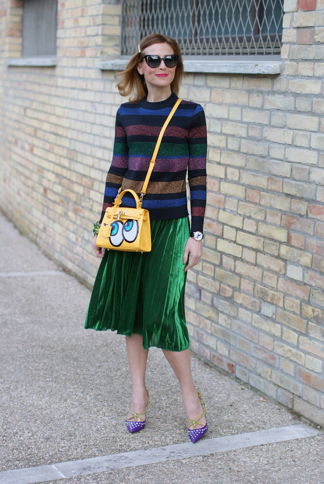 green metallic pleated skirt, striped metallic blouse, Cesare Paciotti heels on Fashion and Cookies fashion blog, fashion blogger style