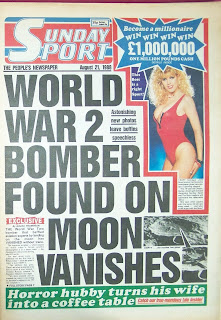 Front page of the British tabloid newspaper The Sunday Sport from 21 August 1988