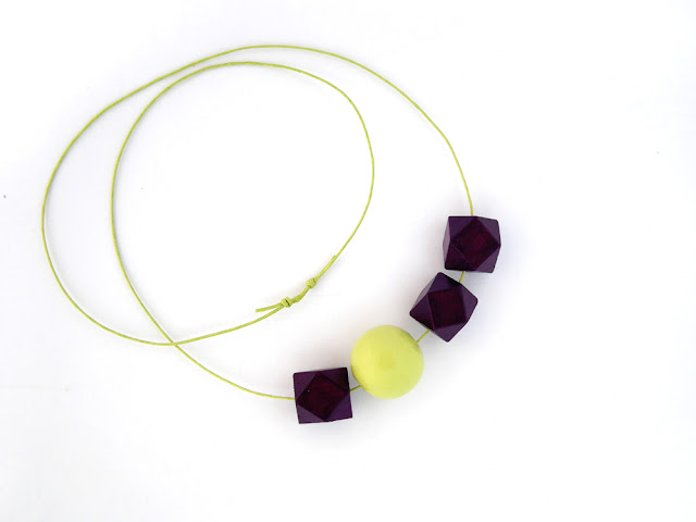 hexagon wood bead necklace