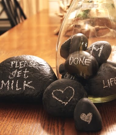 rocks painted with chalkboard paint