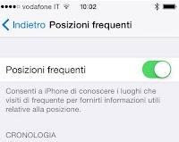 Disattivare Posizioni frequenti iPhone (che salva tutti i luoghi in cui andiamo)