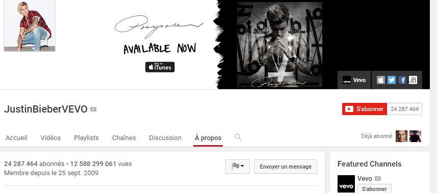 chaîne YouTube de Justin Bieber
