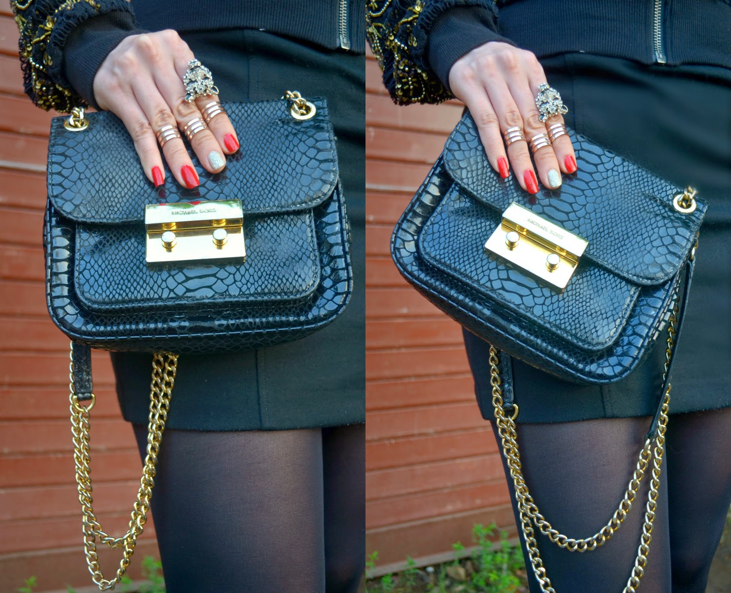 Michael Kors black snakeskin bag