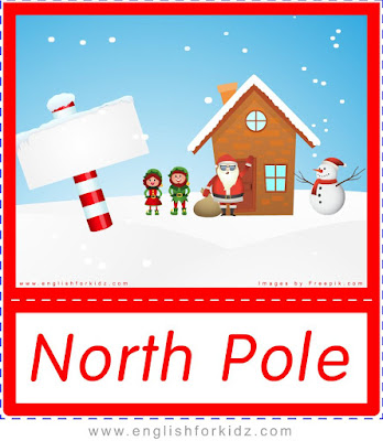 North Pole with Santa Claus, Christmas flashcards