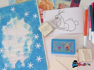 quaderno delle feste con fiocchi neve e timbri multiprint
