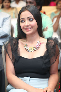 Swetha Basu in a Black Sleeveless Top Long Skirt at Mixture Potlam Movie Audio Launch 068.JPG