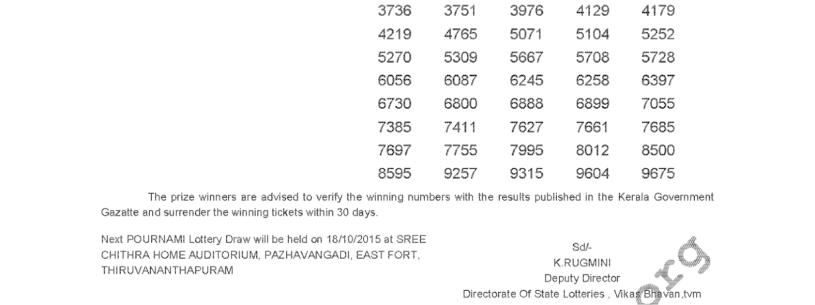 POURNAMI Lottery RN 206 Result 11-10-2015