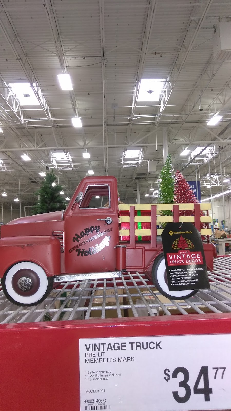 i found this yesterday at our sams club in florida what a cute christmas dcor piece the little red truck is all the rage this year