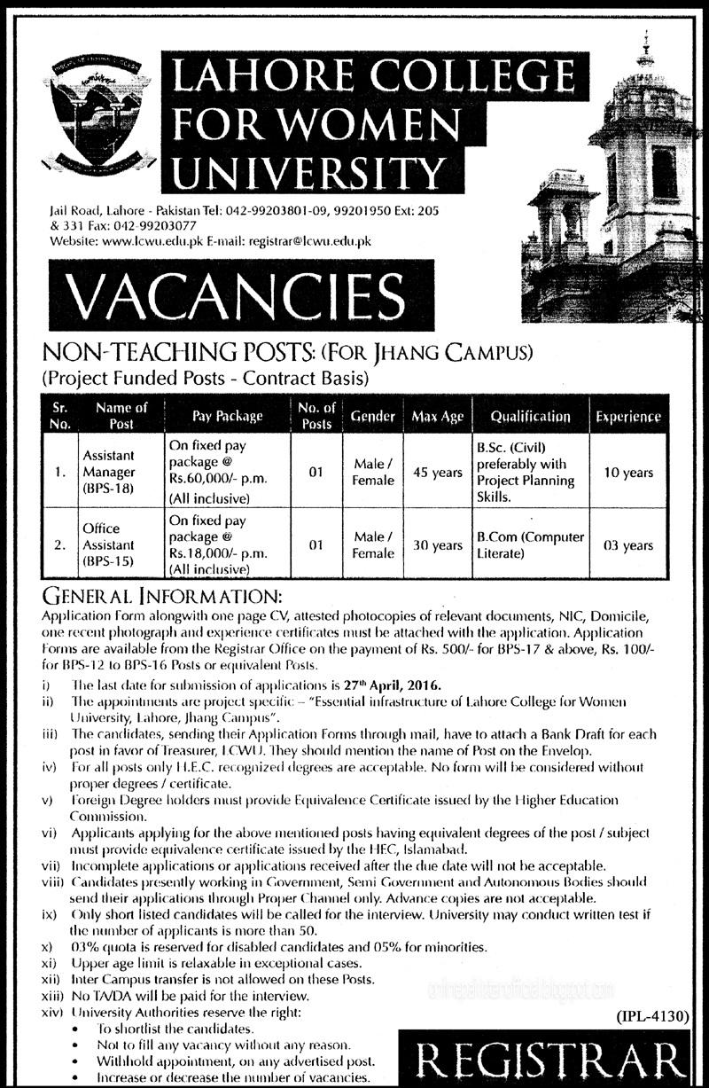 Lahore college women university jobs in province of punja