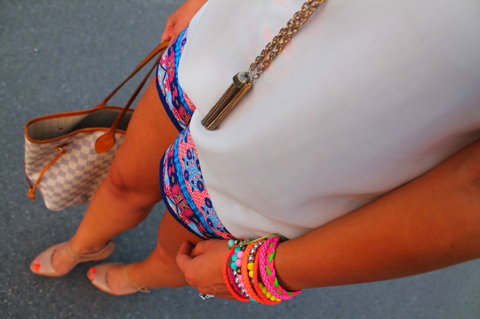 Toronto street style, canadian fashion blogger, printed shorts, aztec print shorts, summer outfit with shorts, blogerke
