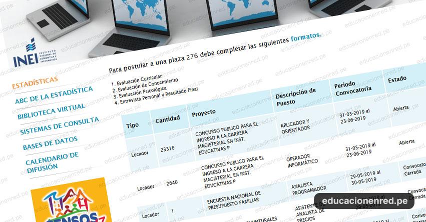 INEI - CONVOCATORIA 2019: Aplicador - Orientador y Operador Informático - Evaluación Docente - MINEDU (Inscripciones hasta el 23 Junio) Nivel Nacional - www.inei.gob.pe
