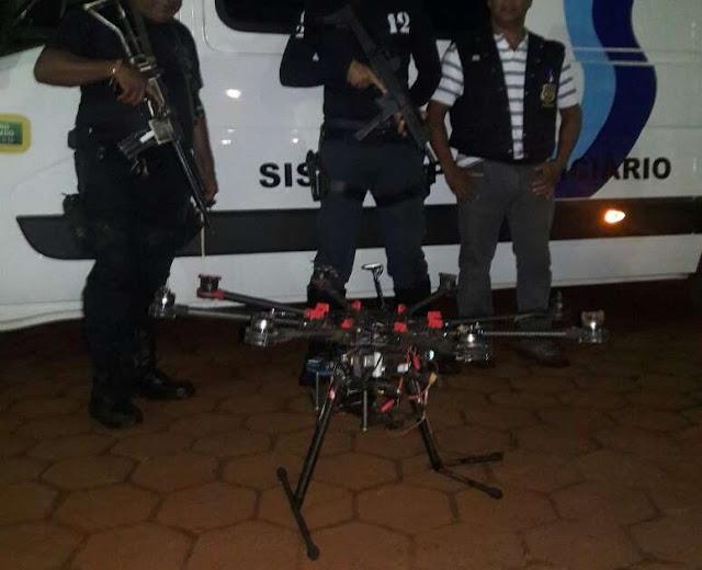 PM derruba drone a tiros, avaliado em R$ 20 mil com sacola próximo a penitenciária em Dourados