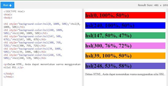 HTML Color atau Warna pada HTML