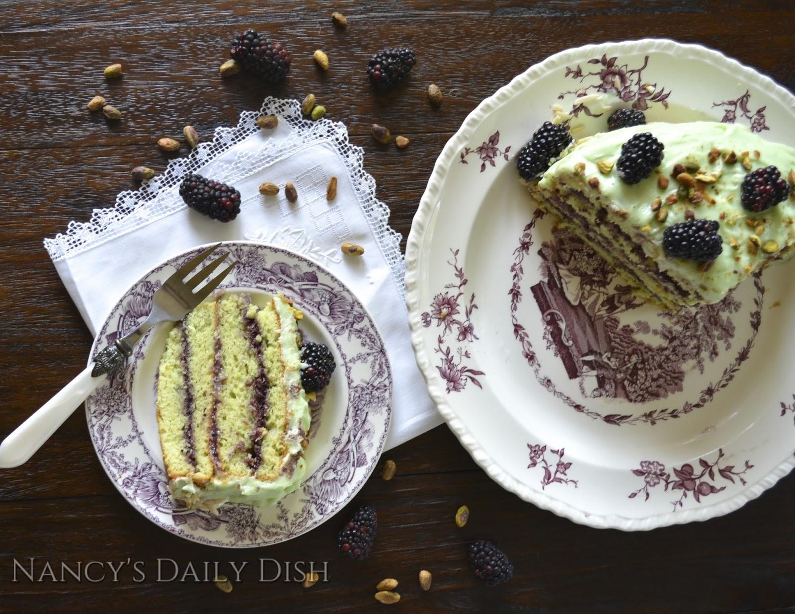 ... Almond Cake w/ Blackberry Filling & Pistachio Cream Cheese Frosting