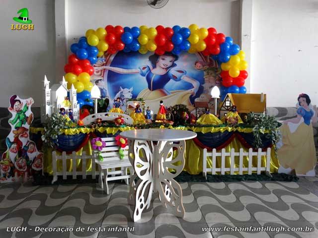 Festa infantil - Decoração tema Branca de Neve para festa de aniversário feminino