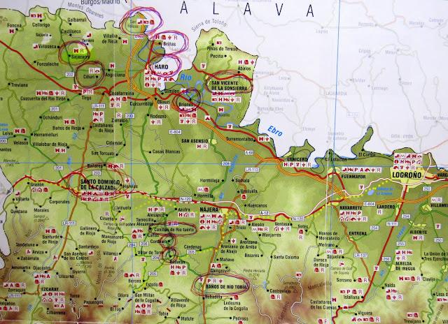 Mapa ruta por la Rioja Alta