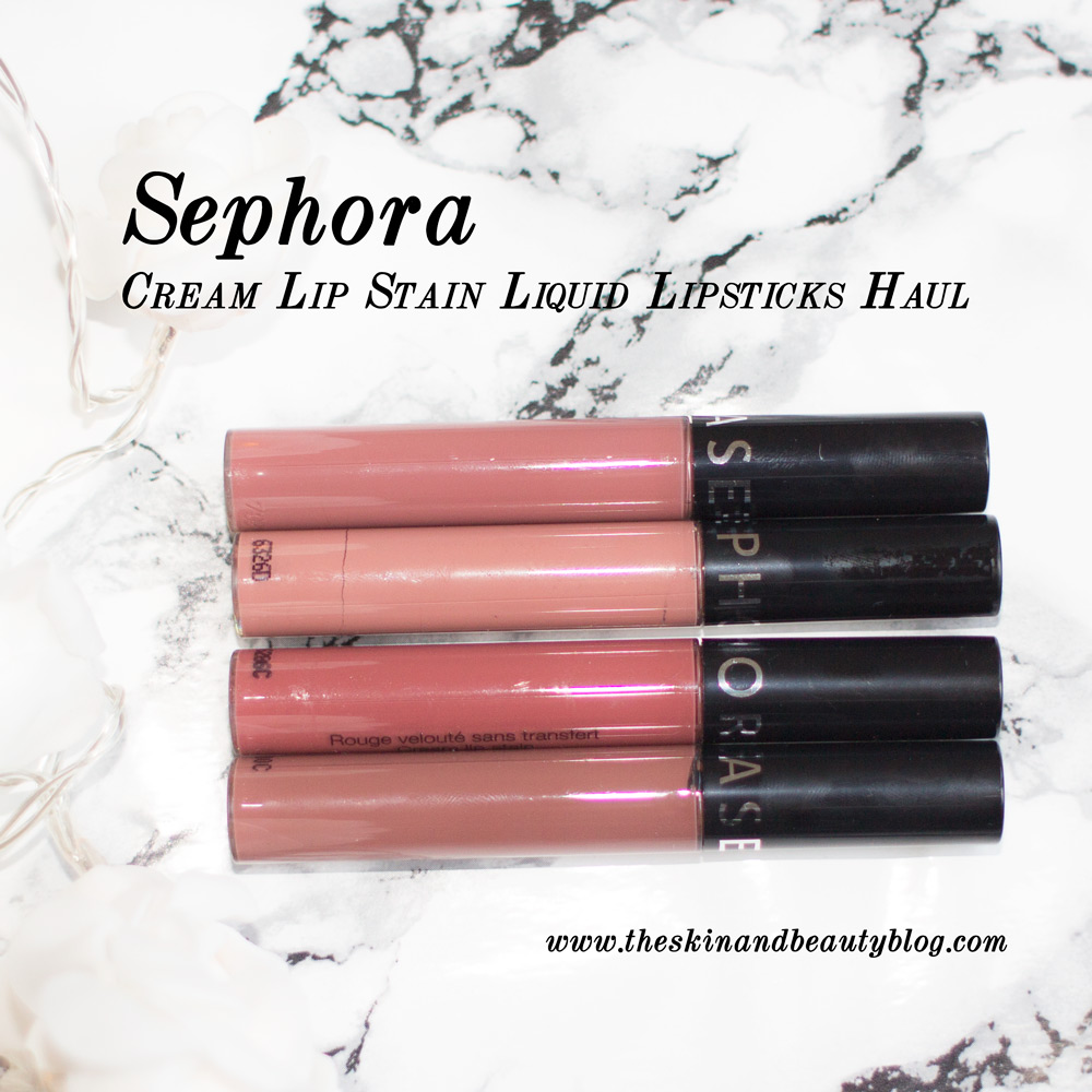 Sephora Cream Lip Stain Lipsticks in Copper Blush, Pink Tea, Vintage Rosewood and Frozen Strawberry Swatches