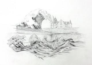 Cours de dessin Ateliers LT37 -  La vague d'Hokusai au pont du cher à veretz - dessin de Christophe LD - crayon graphite -  Montlouis sur loire      tours       St cyr sur loire      amboise      bléré       larçay