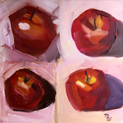 Apple Study original red apple oil painting by artist Merrill Weber