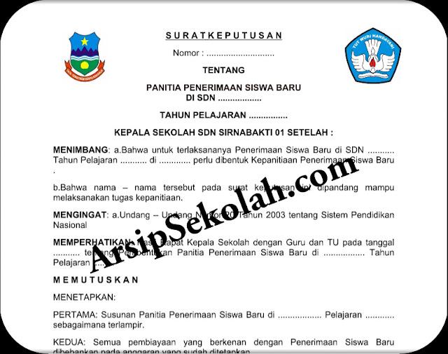 Download Gratis File Contoh SK Panitia Penerimaan Siswa Baru Terbaru