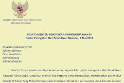 Pidato Mendikbud Peringatan Hari Pendidikan Nasional 2 Mei 2019