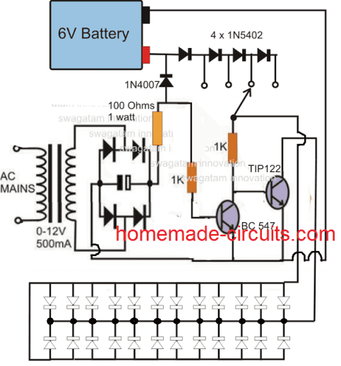 adjustable emergency lamp circuit using NPN transistors