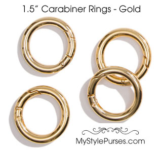 "1.5"" Bright Gold Carabiner Rings"