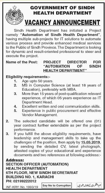 Govt Jobs In Karachi 2019