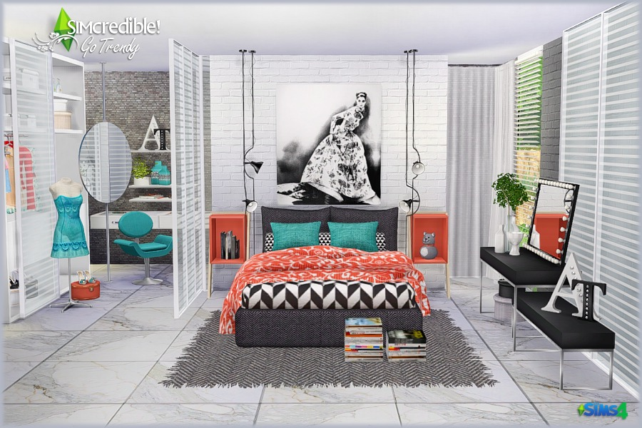 My sims 4 blog go trendy bedroom set by simcredible designs for Trendy bedroom ideas 2016