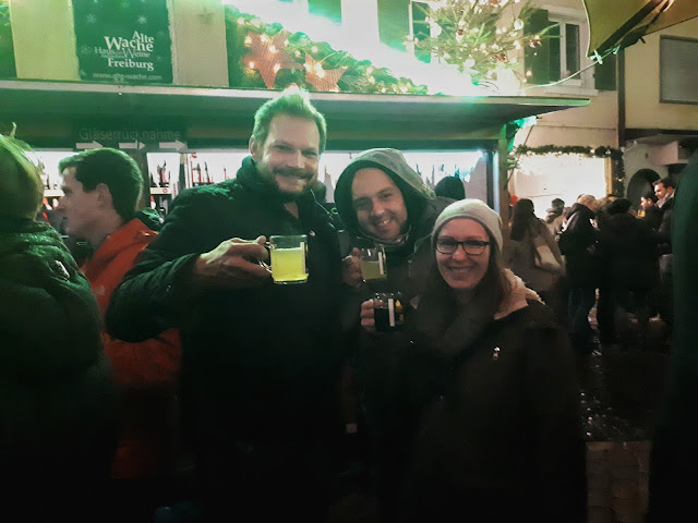 White gluhwein at Christmas market of Freiburg