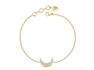 Missoma Diamond 18ct Gold Vermeil Pave Moon Trinket  Bracelet